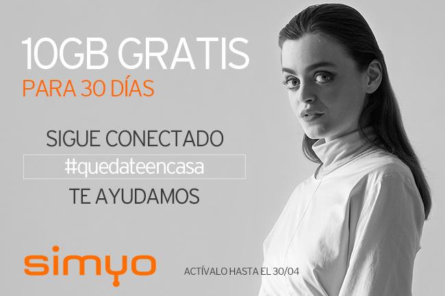 Simyo regala 10 Gb Gratis hasta el 30 de Abril #YoMeQuedoEnCasa