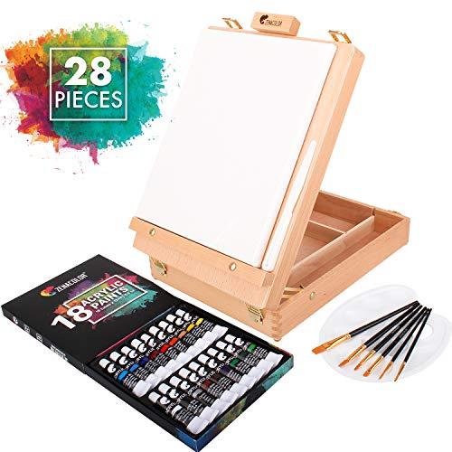 Set de Pintura con caballete, 18 Tubos de Pintura Acrílica, 6 pinceles para Pintar - Lienzo para pintar 24x30cm, Espátula y Paleta Gratis
