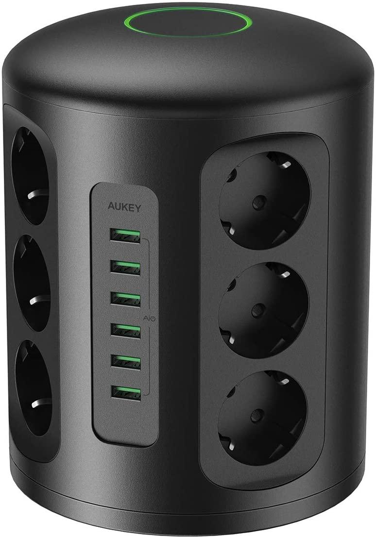 AUKEY Regleta de Enchufes Vertical, 6 puertos de carga USB y 12 tomas con cable