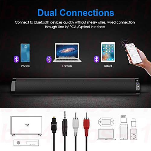 Barra de Sonido, Nueva Bluetooth 5.0, Profesional Sonido Envolvente Altavoz para TV/Home Cinema, Montable en la Pared