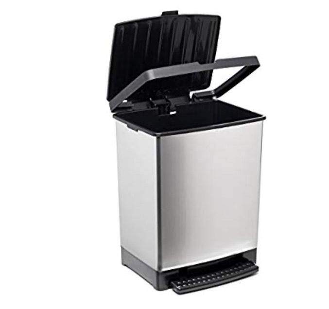 Cubo de basura para cocina fabricado en PP metalizado con 25 litros de capacidad