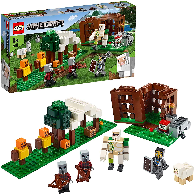 LEGO Minecraft - El Puesto de Saqueadores, Juguete de Construcción para Recrear las Aventuras del Videojuego