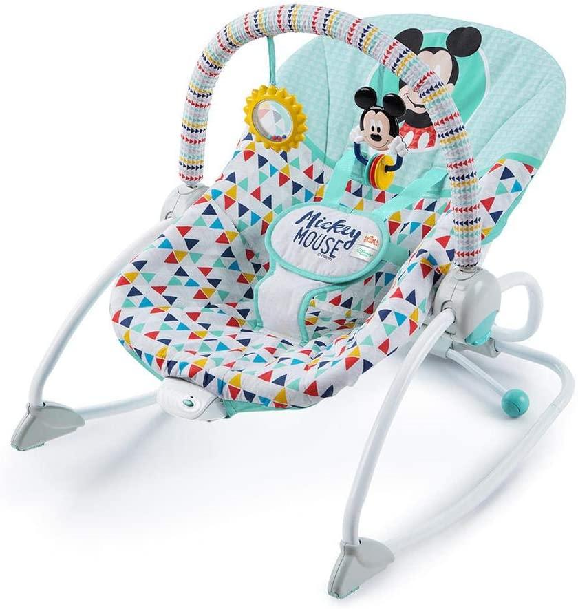 Hamaca para bebé con vibración, muy bonita con detalles de Mickey Mouse Disney