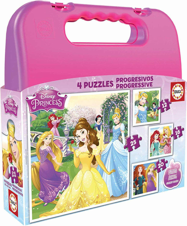 Maleta con Puzzles progresivos de Princesas Disney