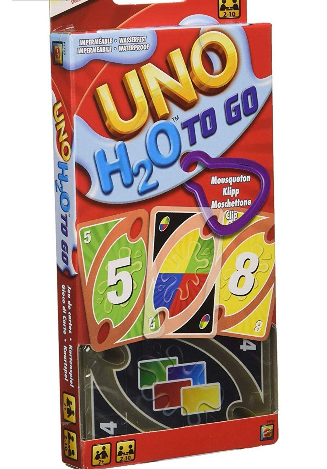 Mattel-UNO H2O To Go Juego de cartasresistentes al agua. (precio al tramitar el pedido)
