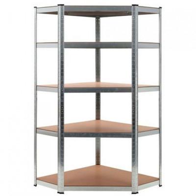 Estantería esquinera modular galvanizada 5 baldas [180x90x40x70,5cm] //Disponible también en negro