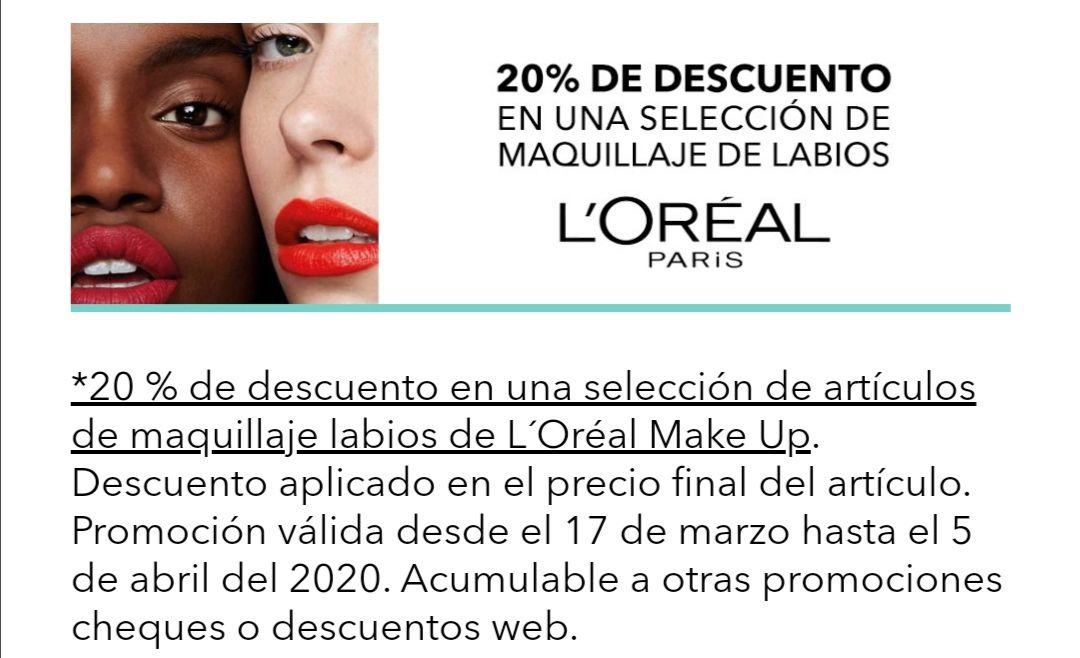 20% de descuento en una selección de maquillaje de labios loreal