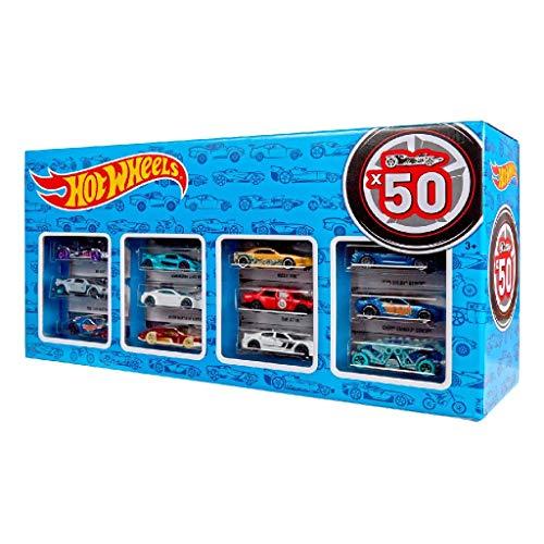 Hot Wheels Pack 50 Vehículos, coches de juguete (modelos surtidos)