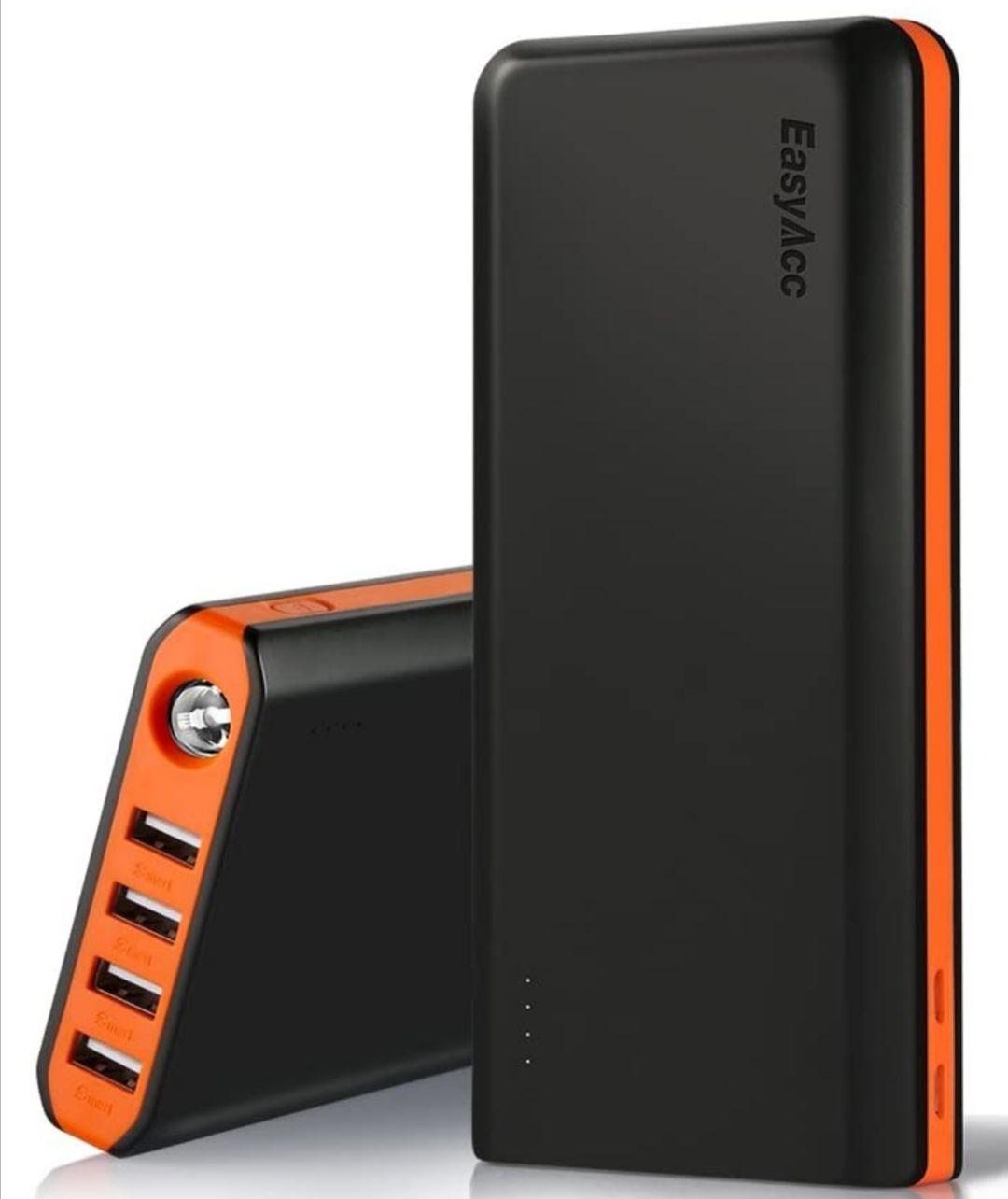 Batería Externa 20000mAh 4.8A 4 Puertos Salidas Carga Rápida. Con linterna.
