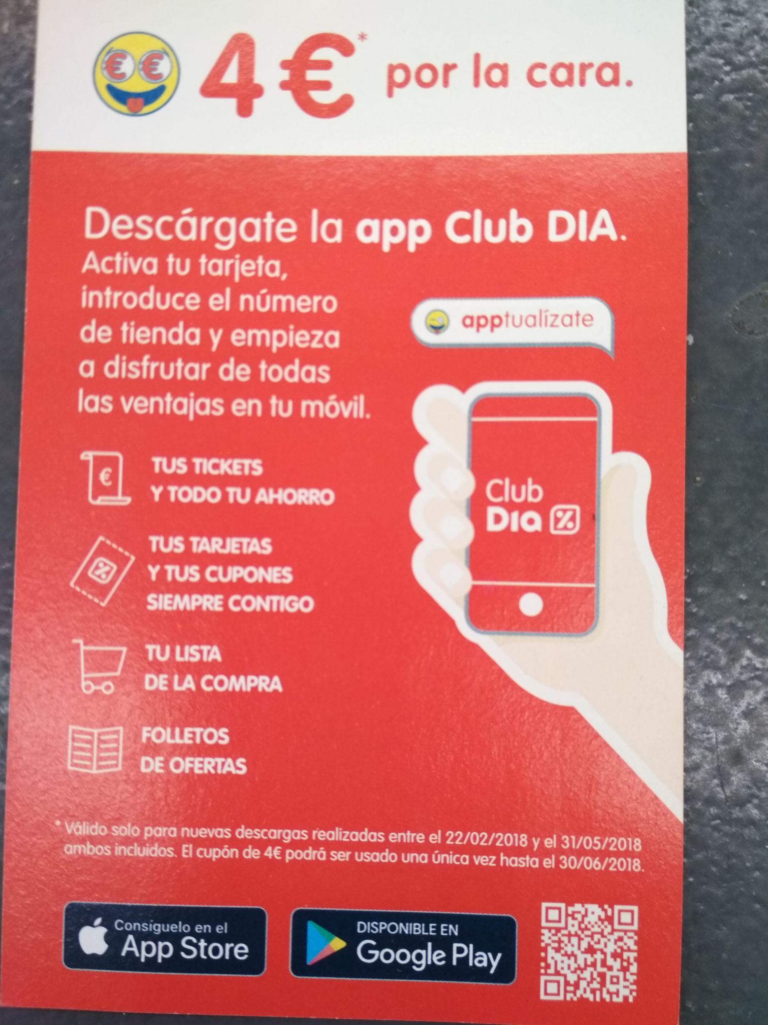 Cupón 4€ al descargar x primera vez la app de Dia