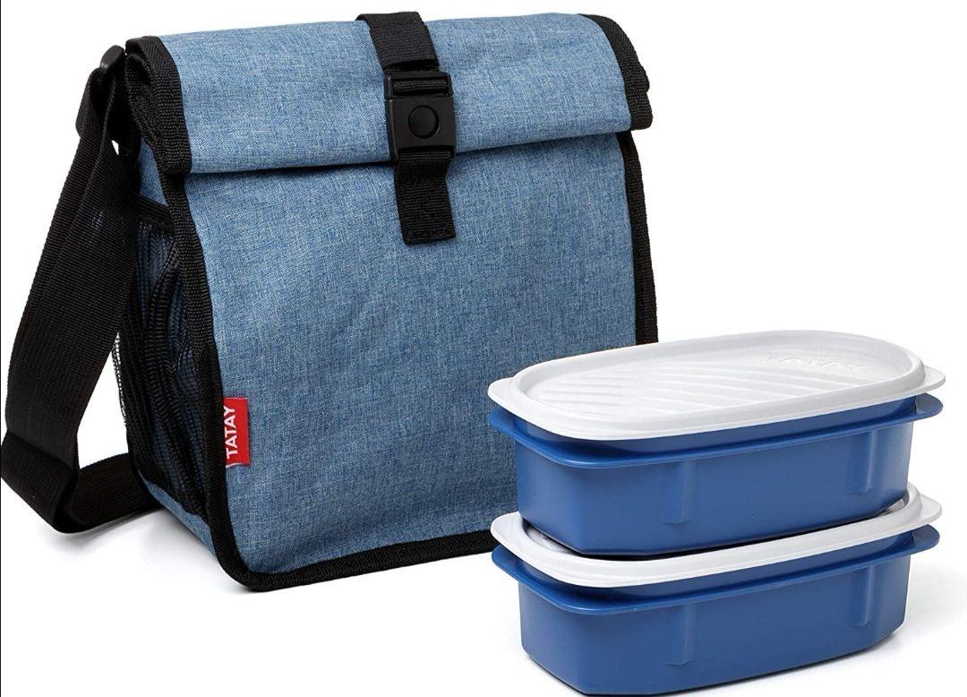 TATAY-Bolsa térmica Impermeable porta alimentos enrollable con 2 tápers herméticos incluidos