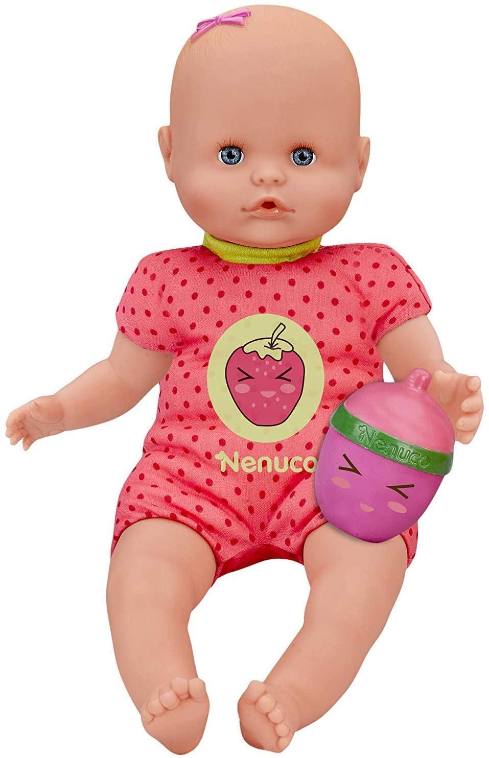 Nenuco - Muñeco Bebé con Biberón Sonajero y Pijama Rosa
