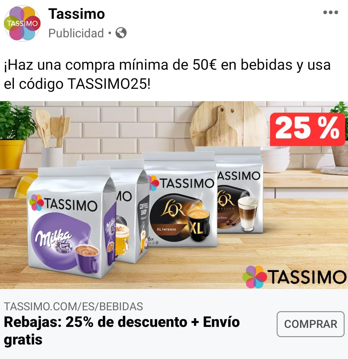 25% de descuento en Tassimo con envío gratuito (compra mínima 50 euros)