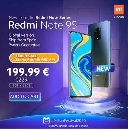 XIAOMI REDMI NOTE 9S 4GB/64GB - DESDE ESPAÑA (27/03)
