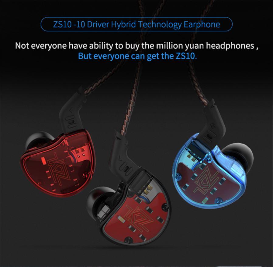 KZ ZS10 - Auriculares con 10 Drivers (5 cada lado, 4 BA y 1DD)