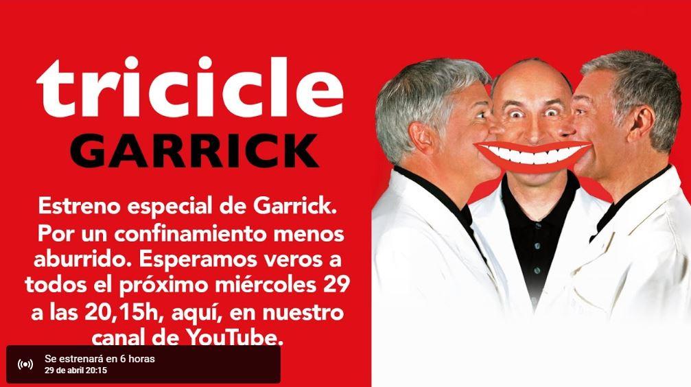 Tricicle suben 8 de sus espectaculos de manera gratuita #YoMeQuedoEnCasa (miércoles 29 Garrick)