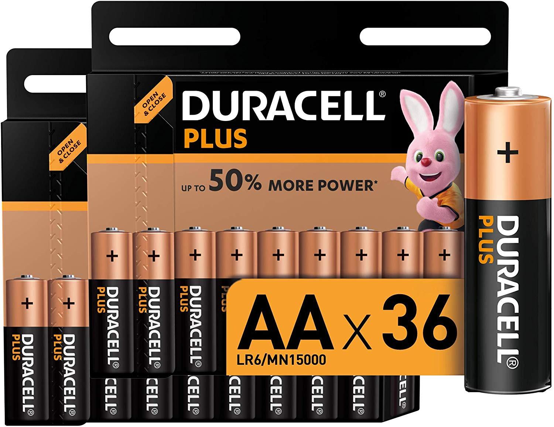 Duracell - Plus AAA, Pilas Alcalinas (paquete de 36) 1.5 Voltios LR06 MX1500