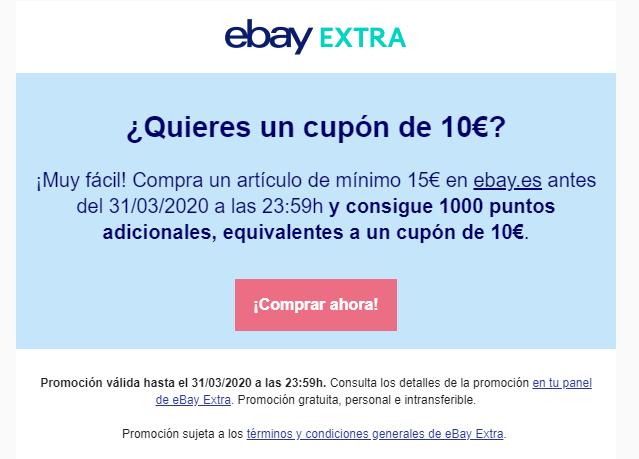 Cupón 10€ al realizar compra de 15€ (Cuentas con Ebay Extra Seleccionadas)