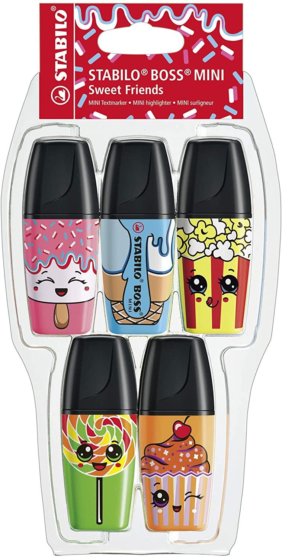 Stabilo Marcador Fluorescente Boss Mini Sweet Friends - Pack con 5 Colores - Edición Limitada