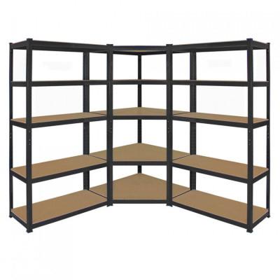 Pack 2 estanterías modulares y 1 esquinera negras con 5 baldas