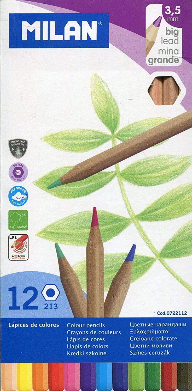 12 lápices de colores MILAN punta gruesa