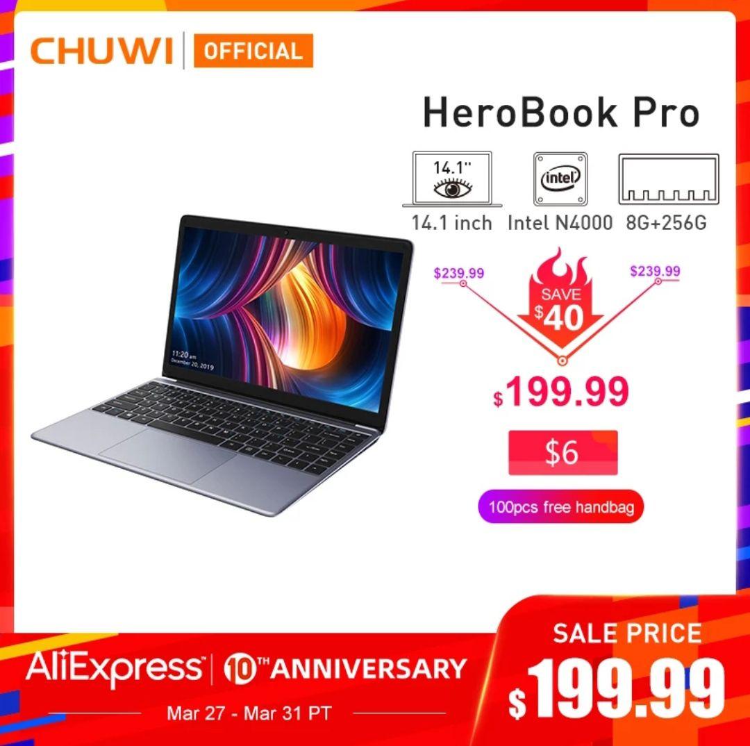 Novedad 2020 CHUWI HeroBook Pro 14,1 pulgadas 1920*1080 IPS pantalla Intel N4000 procesador DDR4 8GB 256GB SSD Windows 10 portátil