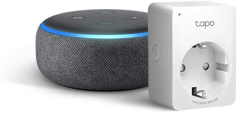 Echo Dot (3.ª generación), tela de color antracita + Tapo P100 Enchufe inteligente, compatible con Alexa