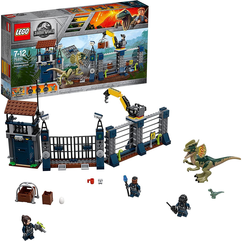 LEGO Jurassic World - Ataque del Dilofosaurio al Puesto de Vigilancia, Juguete de Construcción con Dinosaurios Creativo y Divertido