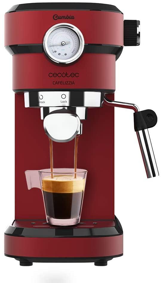 Cecotec Cafetera Express con Manómetro 790 Shiny Pro. Brazo con Doble Salida y Dos filtros, 20bares, Depósito extraíble de 1,2L, 1350W, Rojo