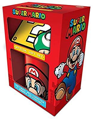 Caja regalo Mario Bross taza+posavasos+Manojo llaves suspendido licencia oficial