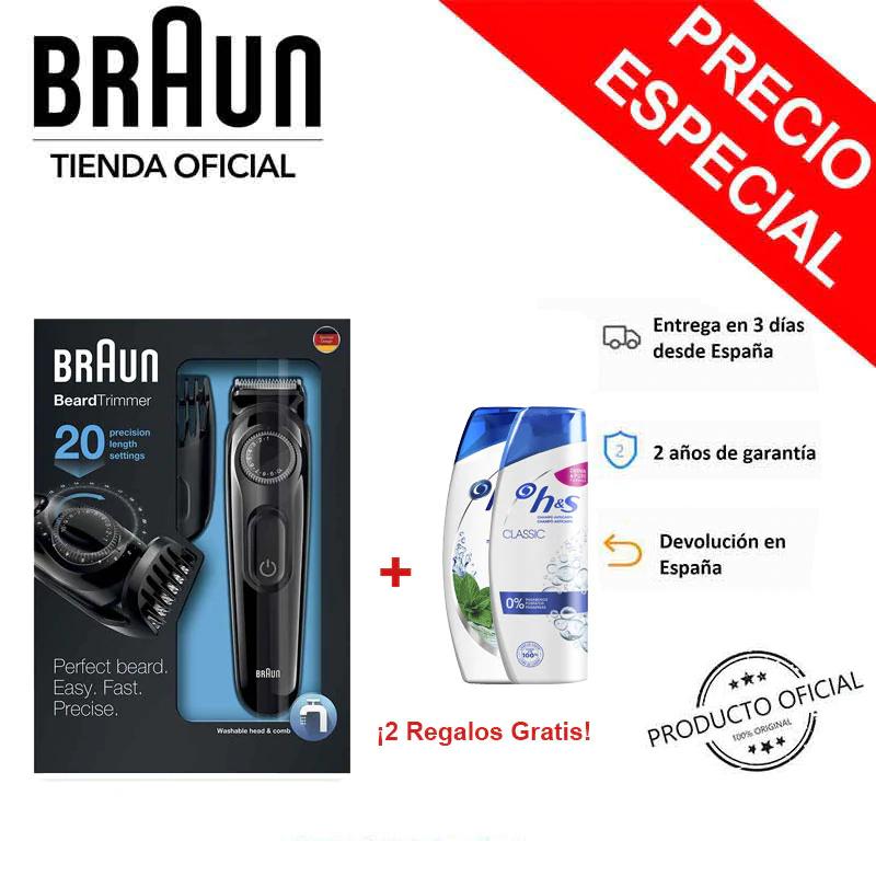 Braun BT3022 Pack Recortador de barba de precisión recargable + 2 Champú H&S de Regalo