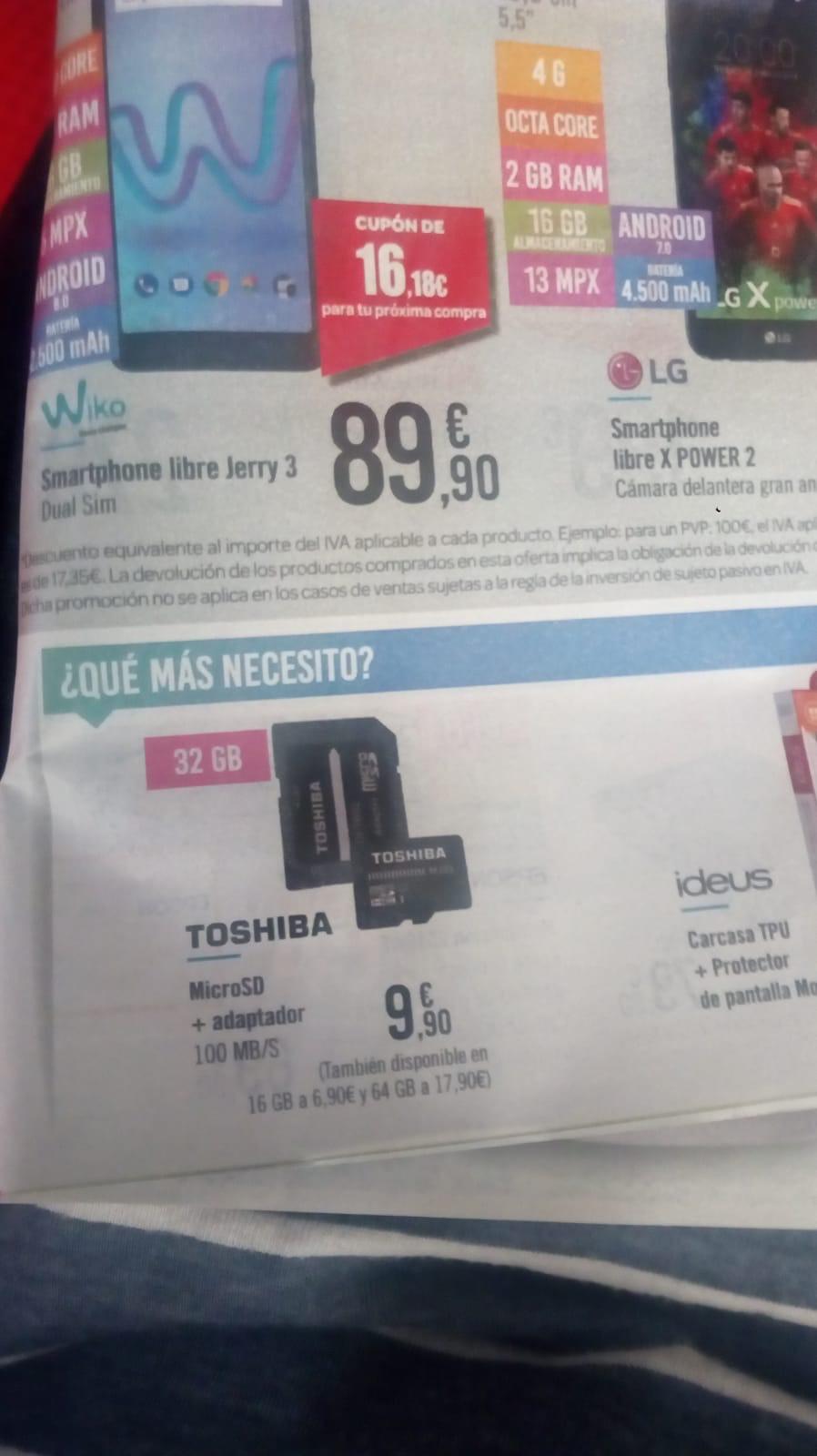 Tarjeta micro Sd Toshiba 32gb + adaptador