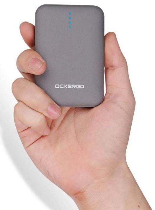 Ockered Batería Externa Power Bank 10000Mah, Cargador Portátil Móvil con 2 Puertos Salidas USB Alta Velocidad y LED