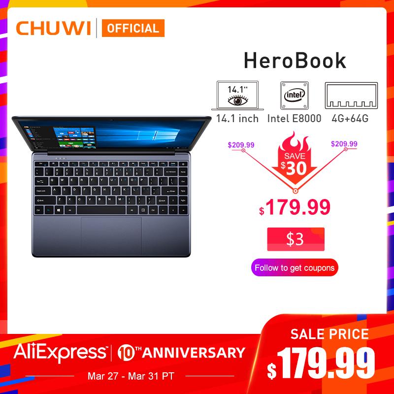 "CHUWI HeroBook 14,1"" 1920*1080 Windows 10 Intel E8000 Quad Core 4GB RAM 64GB ROM"