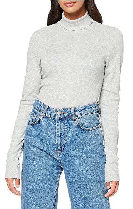 Tommy Hilfiger TH Essential Skinny Rib Roll-nk para Mujer. Talla L.