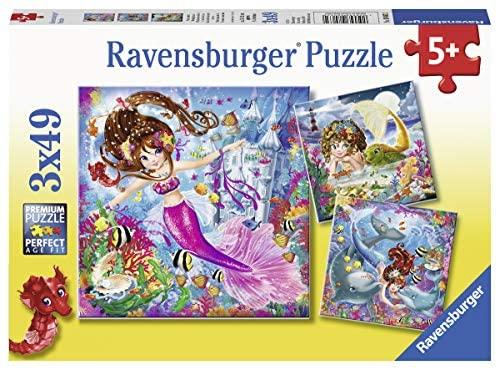3 puzzles x 49 piezas sirenas, marca Ravensburguer