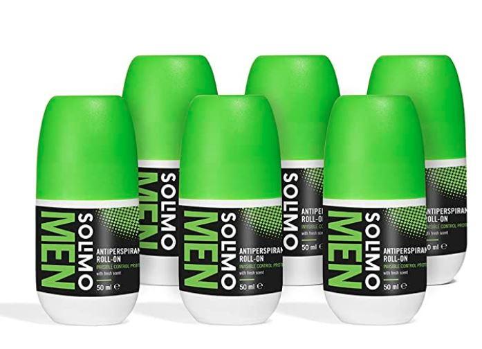 Marca Amazon - 6 x Solimo MEN Roll-On antitranspirante