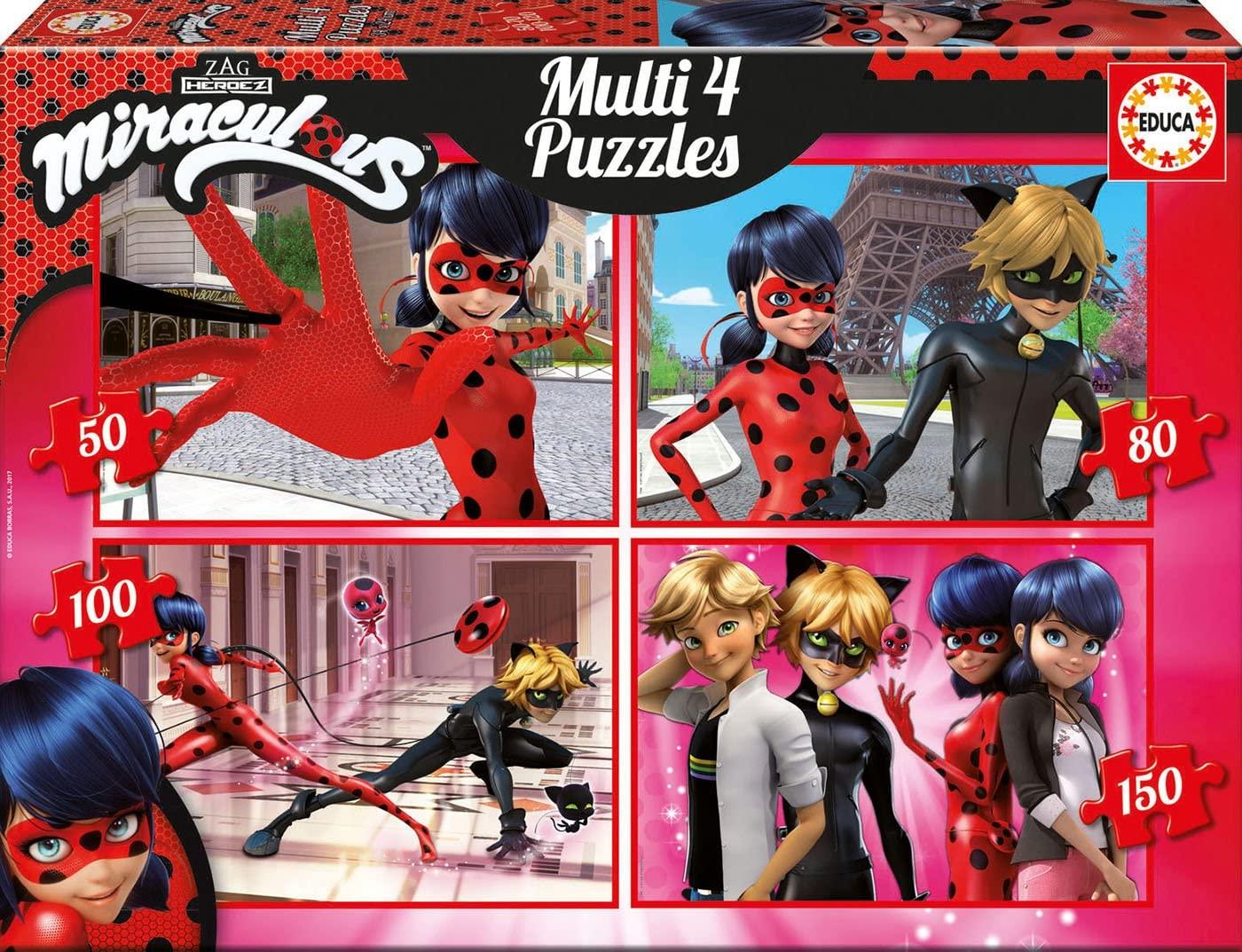 Las aventuras de Ladybug Puzzle Multi 4en1 50-80-100-150