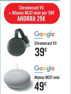 Pack altavoz Google nest v2 y chromecast v3
