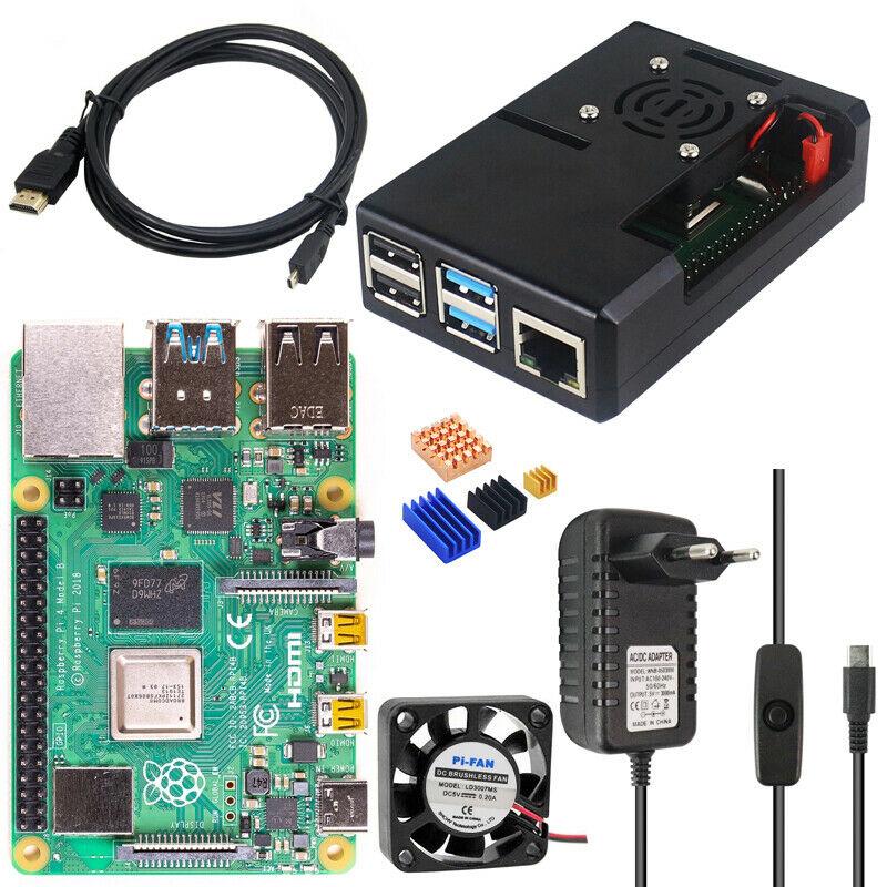 KIT Raspberry Pi 4 2GB (Enchufe+Ventilador+MicroHDMI a HDMI+Tarjeta SD+Carcasa+Refrigeración)