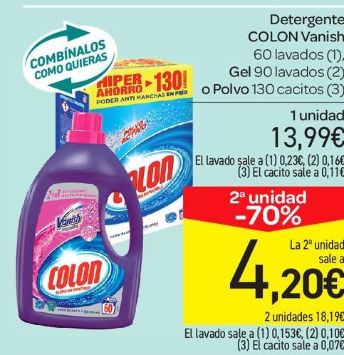 ¡260 lavados de COLON polvo, 180 de gel, o 120 de Colon Vanish por menos de 20€!