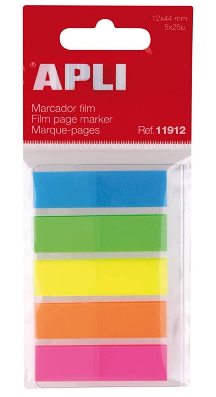 APLI - Índices adhesivos (12 x 45), film colores flúor