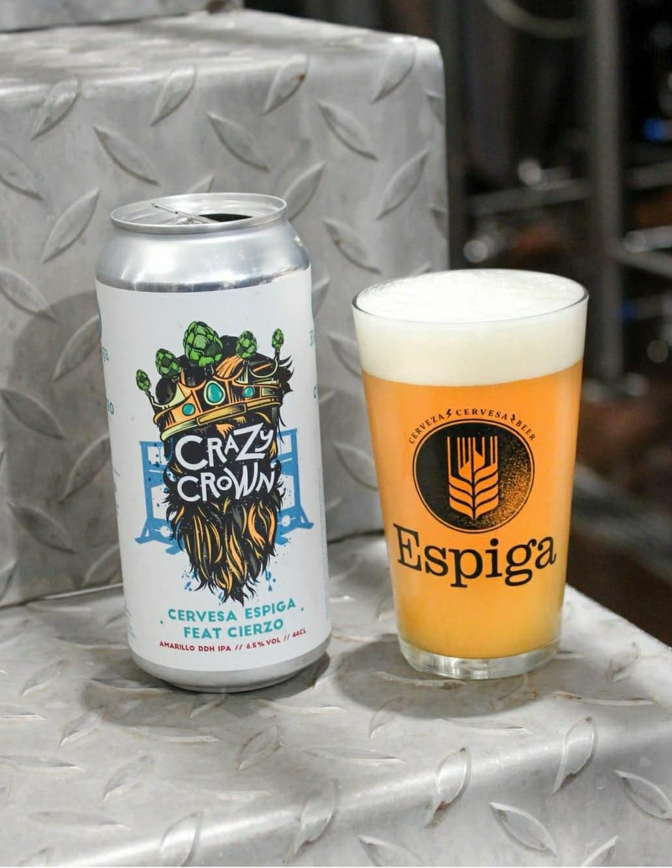 Descuento sobre latas de cerveza Crazy Crown de Espiga y Cierzo y cata online