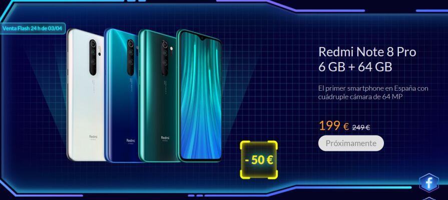 Redmi Note 8 Pro 6/64 por 189€, Redmi Note 8T 3/32 por 129€ y evento de pujas
