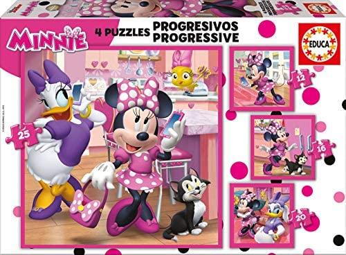 Set 4 puzzles infantil progresivo de 12, 16, 20 y 25 piezas, Minnie Happy Helpers,