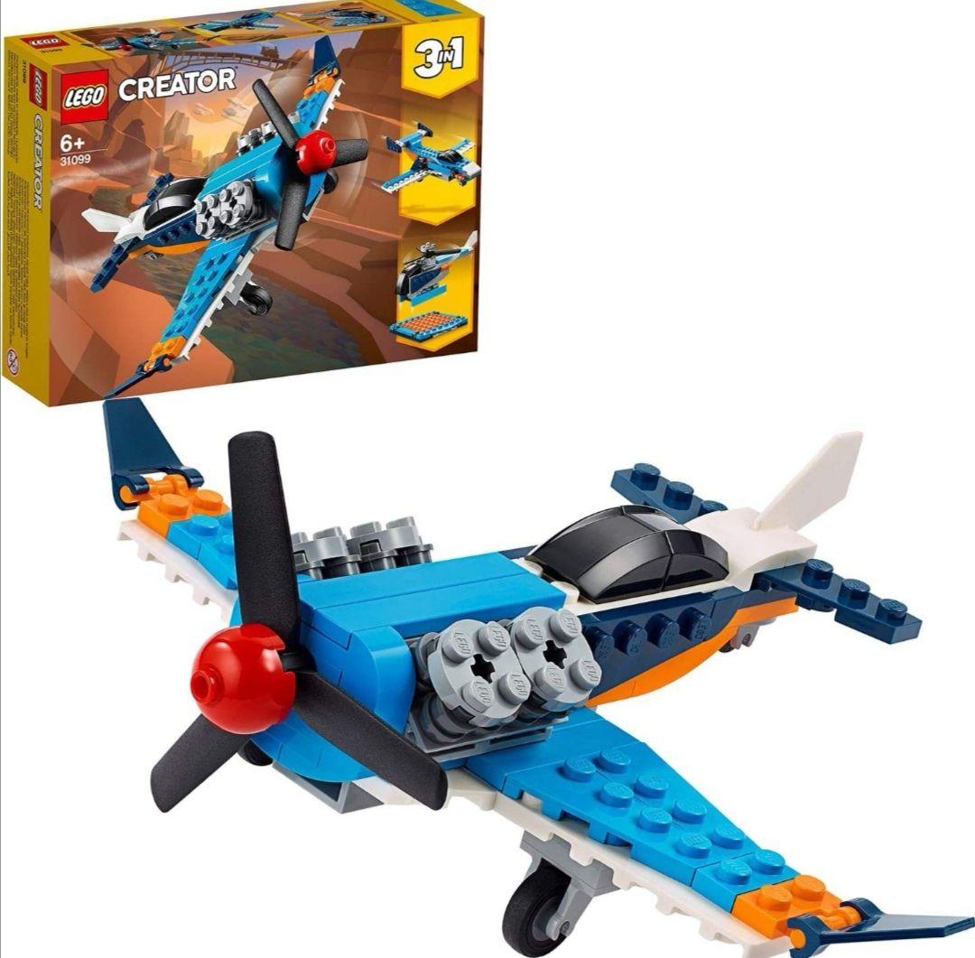 LEGO Creator - Avión de Hélice, Set 3 en 1 de Juguete para Construir un Jet, un Helicóptero y un Avión