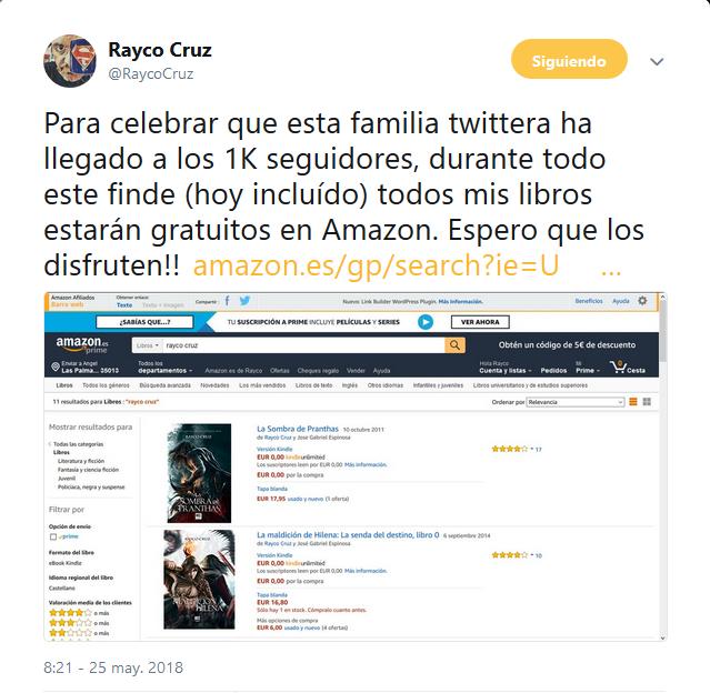 Varios ebooks del autor Rayco Cruz gratis durante el fin de semana (Amazon, Kindle)