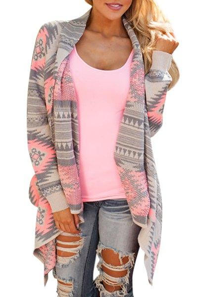 Cardigan asimétrico gris y rosa