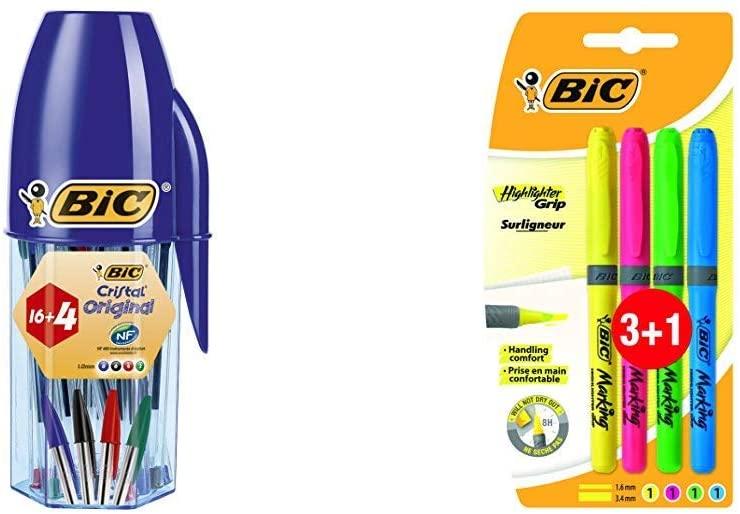 Pack 20 Bolígrafos BIC Cristal en Estuche + 4 Marcadores punta biselada