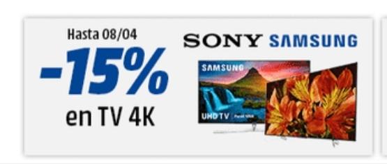 15% de descuento TV Samsung y Sony en Mediamarkt
